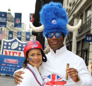 UNITED KINGDOM, London: Thousands of fans take part in the American football festivities on October 24, 2015 before the regular-season NFL game between the Bills and the Jaguars is played at Wembley Stadium.  The NFL has been holding regular-season games in London since 2007, typically including an 'NFL on Regent Street' event the day before the game.