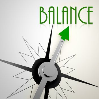 Balance on green compass. Concept of healthy lifestyle