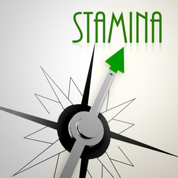 Stamina on green compass. Concept of healthy lifestyle