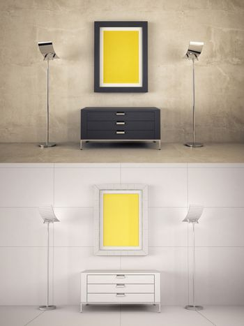 Home Interior texturized and wire version with poster frame mock-up