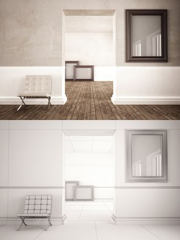 Home Interior minimal style with frame mock-up