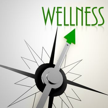 Wellness on green compass. Concept of healthy lifestyle