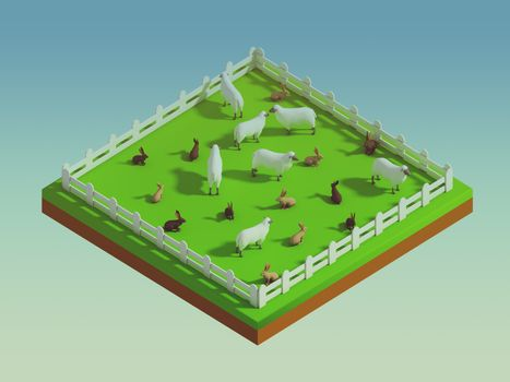 animals in the landscape, isometric view