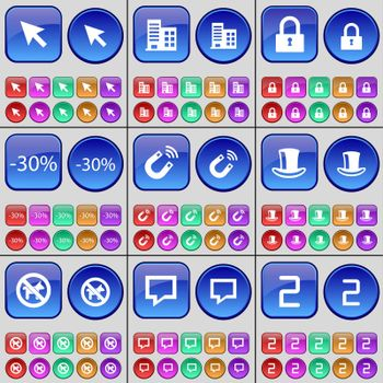 Cursor, Building, Lock, Discount, Magnet, Silk hat, No pets allowed, Chat bubble, Two. A large set of multi-colored buttons. illustration