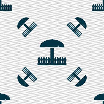 Sandbox icon sign. Seamless pattern with geometric texture. illustration