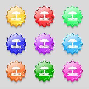 Sandbox icon sign. symbol on nine wavy colourful buttons. illustration