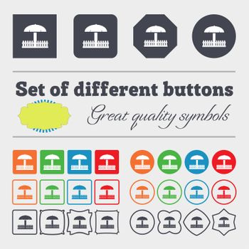 Sandbox icon sign. Big set of colorful, diverse, high-quality buttons. illustration