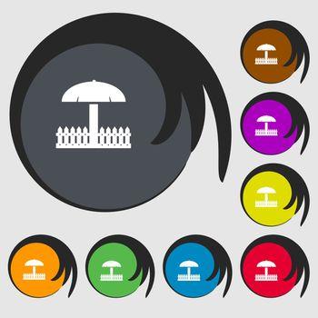 Sandbox icon sign. Symbols on eight colored buttons. illustration