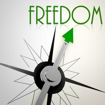 Freedom on green compass. Concept of healthy lifestyle
