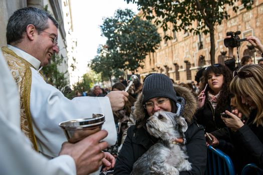 SPAIN, Madrid: A woman holds her dog while it is being blessed by a priest outside the church of San Antón in Calle de Hortaleza in Madrid on Saint Anthony's day, the patron saint of animals, on January 17, 2016.