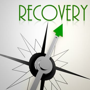 Recovery on green compass. Concept of healthy lifestyle