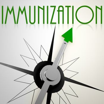 Immunization on green compass. Concept of healthy lifestyle
