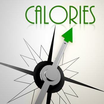 Calories on green compass. Concept of healthy lifestyle
