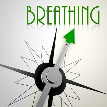 Breathing on green compass. Concept of healthy lifestyle
