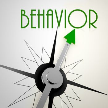 Behavior on green compass. Concept of healthy lifestyle