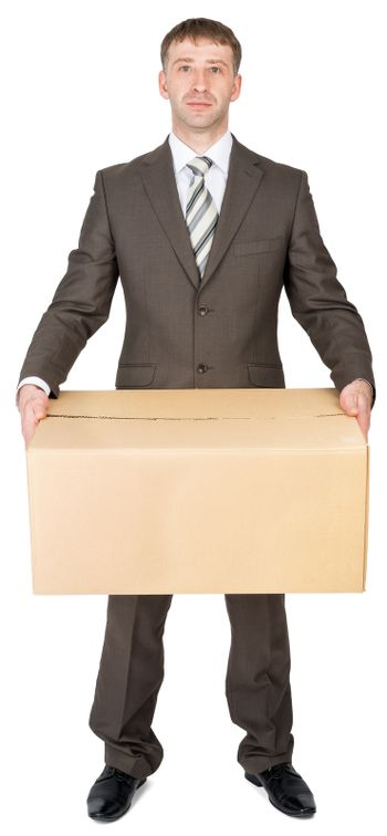 Manager in suit holding cardboard box, isolated on white. Transportation concept