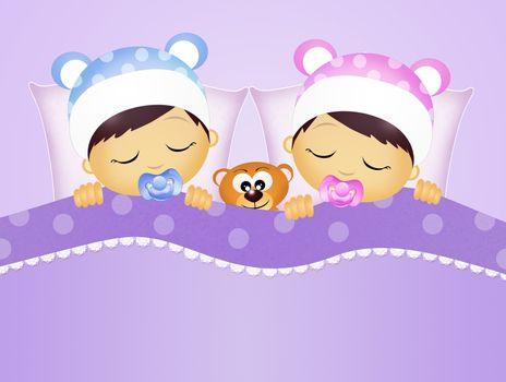 babies sleeping in the bed