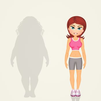 illustration of overweight woman lifestyle changes
