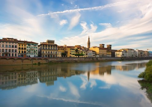 Beauty of Florence on the river Arno in summer, Italy