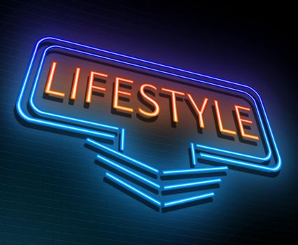 Illustration depicting an illuminated neon sign with a lifestyle concept.
