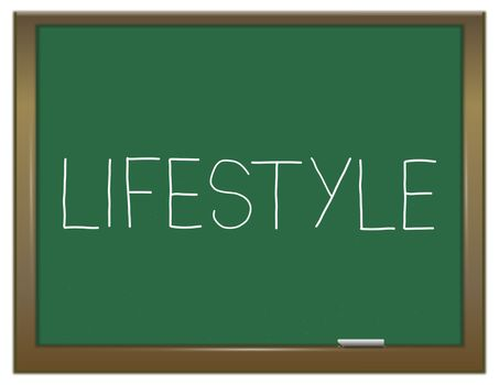 Illustration depicting a green chalkboard with a lifestyle concept.