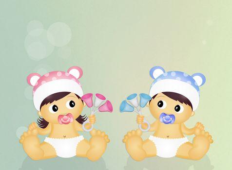 cute illustration of babies