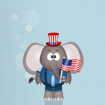 illustration of elephant with American flag for July 4th