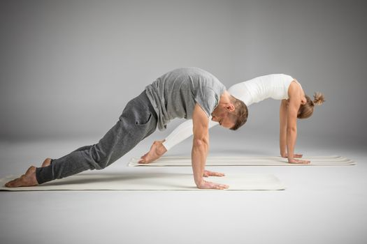 Couple practicing yoga performing cat position on yoga mats