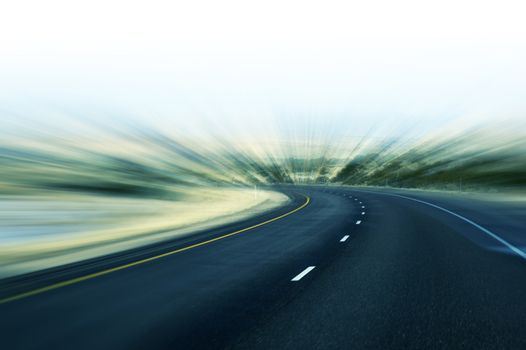Fast Highway Abstract Motion Blur Highway Background. Transportation Theme.