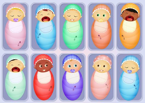 illustration of babies in the nursery