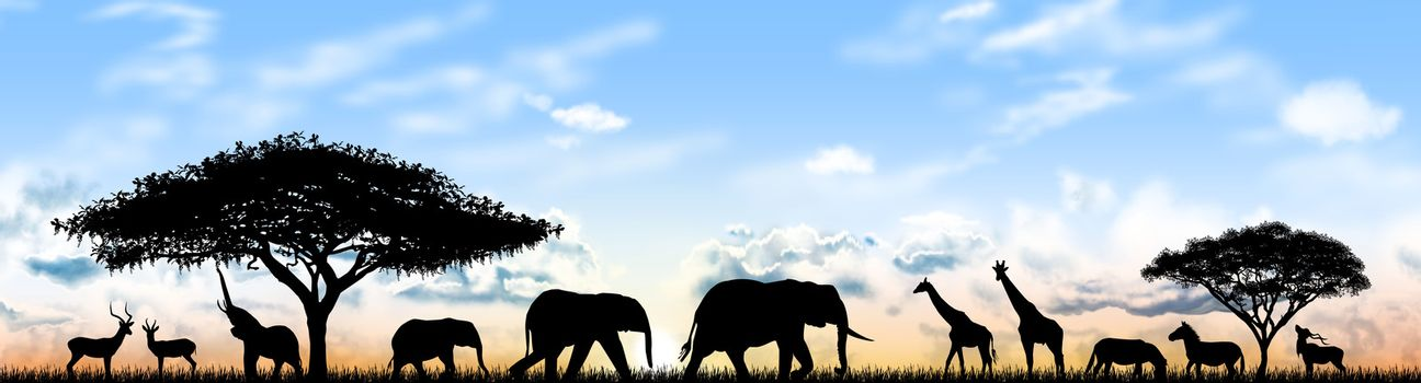 Silhouettes of wild animals of the African savannah. Wild Animals of Africa against the sky and the sun.