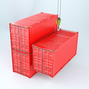 Shipping containers with crane hook. Transportation industry concept. 3d rendering