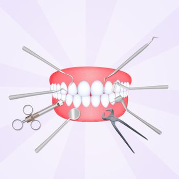 mouth with dentist tools