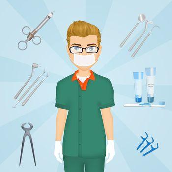 illustration of dentist tools