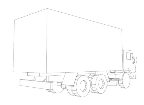 Truck with cargo container. Transportation concept. 3d illustration. Wire-frame style