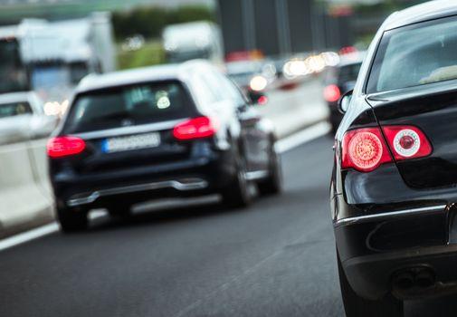 European Highway Traffic. Modern Cars on the German Road. Transportation Theme.