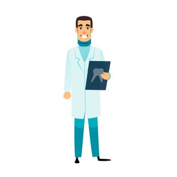 Dentist flat cartoon character. Stomatologist is holding an x-ray of the tooth. Doctor with radiograph. Dentist healthcare, profession, stomatology and medicine concept