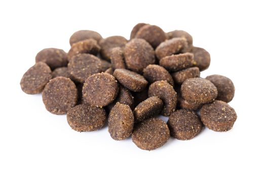 dry food for animals on a white isolated background