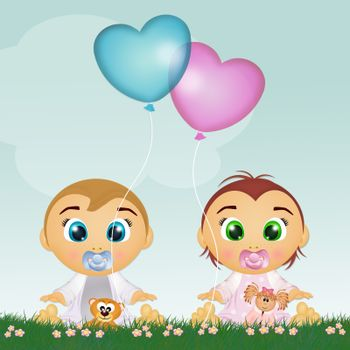 funny illustration of babies