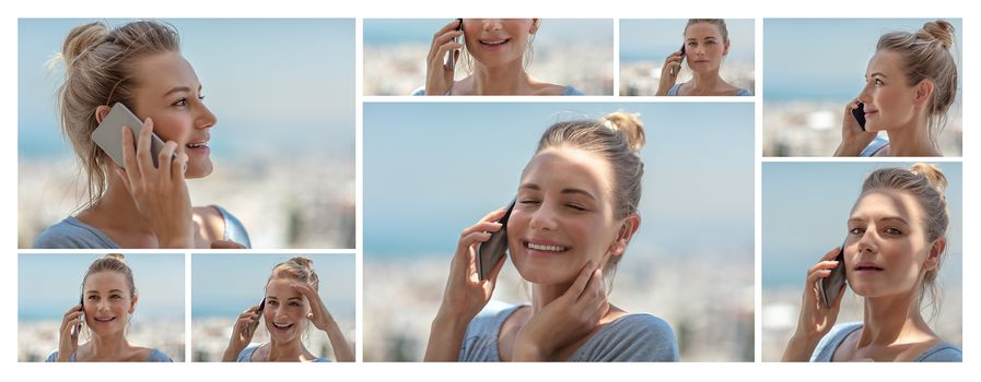 Photo collage of a pretty happy woman talking on the phone, enjoying communication, using modern technology