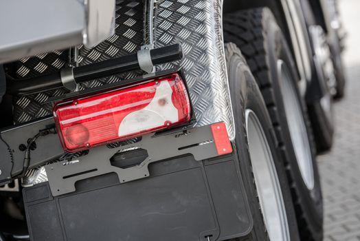 Heavy Duty Truck Stop Light Closeup. Transportation Industry Theme.