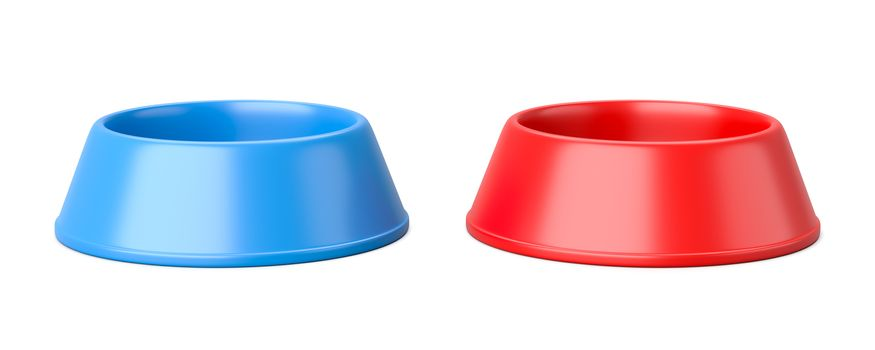 Two Empty Plastic Pets Bowl Isolated on White Background 3D Illustration