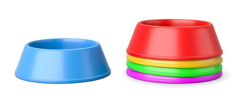 Stack of Colorful Plastic Pets Bowls Isolated on White Background 3D Illustration