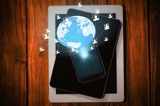 Global technology background against technology on desk 3d