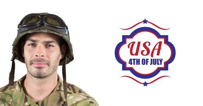 Digital composite of soldier with usa, 4th of july