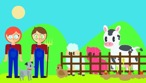 Vector of farmers with pets in poultry farm