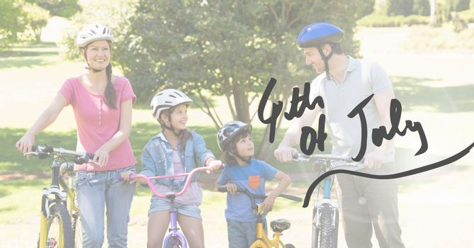 Digital composite of Family bicycling for the 4th of July