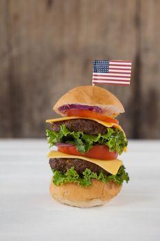 Close-up of hamburger with 4th july theme