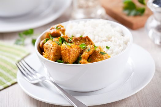 Bowl of homemade pork curry with rice
