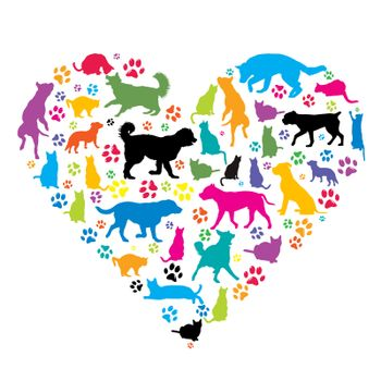 I love pets concept with silhouettes of dogs and cat in heart shape